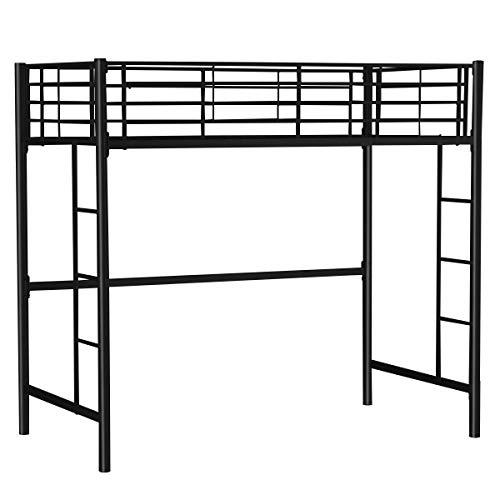 GJH One Twin Loft Bed Metal Bunk Ladder Beds Boys Girls Teens Kids Bedroom Dorm Black 79.0