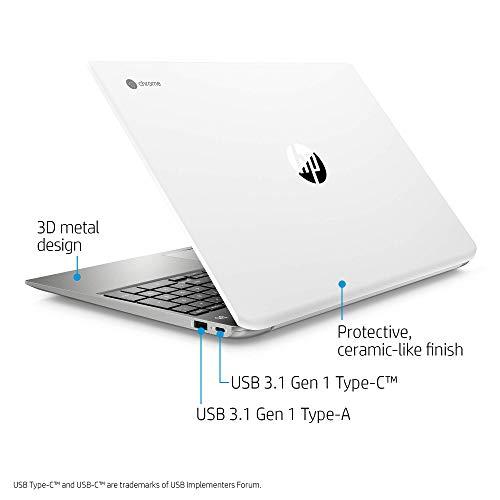 HP Chromebook 15-Inch Laptop, Micro-Edge Touchscreen, Dual-Core Intel Pentium Gold 4417U Gold Processor, 4 GB SDRAM, 64 GB eMMC Storage, Chrome OS (15-de0010nr, Ceramic White/Mineral Silver) (Renewed)