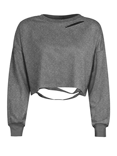 Women's Loose Long Sleeve Ripped Gray Cropped Sweatshirt Summer Distressed Crop Top S
