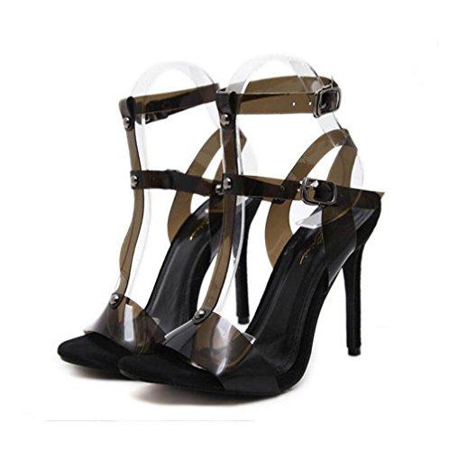 Xdgg Transparent Ouvert Boucles Un Talons Hauts Black Femmes Chaussures Creux Été Nouvelles Mot Cool Sandales Orteil qfwdnSqr