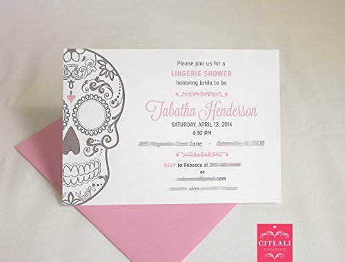 Lingerie Shower Sugar Skull Invitations, Set of 10 Mexican Day of the Dead Wedding Theme