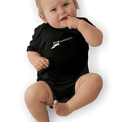 Short Sleeve Cotton Bodysuit for Baby Girls Boys, Fashion Rock Music Guitar Clipart Jumpsuit Black