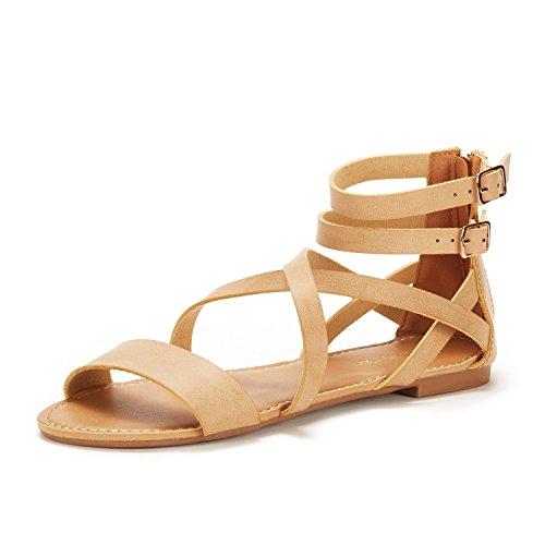 DREAM PAIRS Women's Safari Nude Pu Fashion Ankle Strap Flat Sandals Size 11 M (Pu Womens Fashion Sandals)