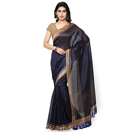 Rajnandini-Womens-Tussar-Silk-Stripes-Printed-SareeJOPLNB3001Navy-BlueFree-Size