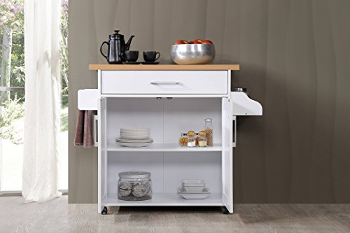 Farmhouse Kitchen Hodedah Kitchen Island with Spice Rack, Towel Rack & Drawer, White with Beech Top farmhouse kitchen islands and carts