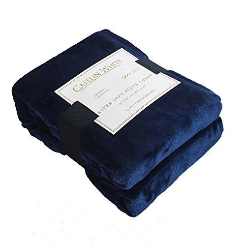 Caitlin White Throw Blanket for Couch/Sofa/Bed,Luxury Super Soft Microplush Velvet,50