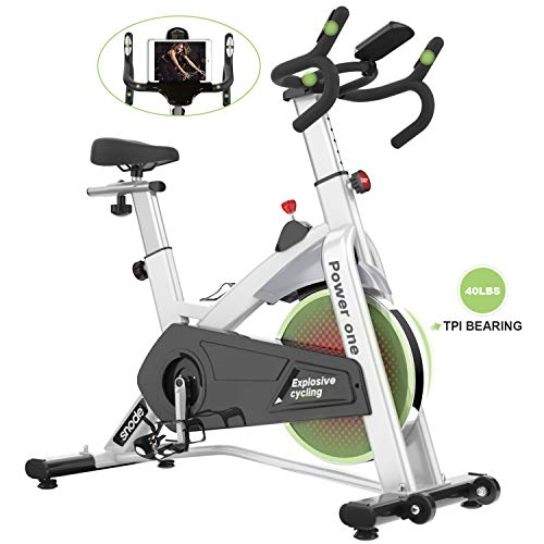 SNODE Indoor Cycling Bike – Stationary Spin Bike, Exercise Bike with Tablet Holder, LCD Monitor for Professional Home Workout, Indoor Cardio Exercise Training