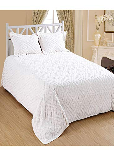 Saral Home Fashions Diamond Design Chenille Bedspread Two Sham, Full, Ivory (Bedspread-108x96 inches, Sham-26x20+2 inches) (Bedspreads Chenille White)