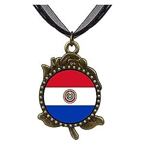 Chicforest Bronze Retro Style Paraguay flag Rose Flower Pendant