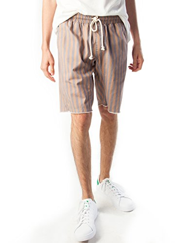Rebel Canyon Young Men's Elastic Waist Printed Cotton Twill Drawstring Short XX-Large Brownish/Charcoal Stripe (Stripe Shorts Twill Cotton)