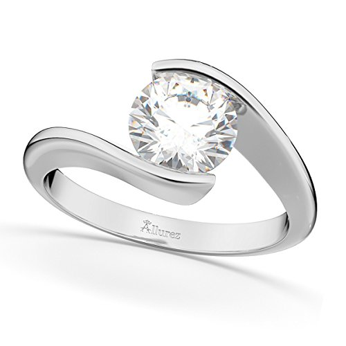 (Ladies Tension Set, Twisted Solitaire Diamond Engagement Ring, Bypass Style Palladium 2.00ct)