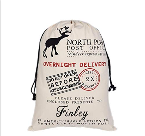 HUAN XUN Personalized Christmas Santa Sack Custom Name Finley Best Gifts Bags for Home Familys