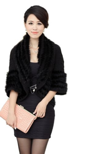 Queenshiny Women's 100% Real Wool and Rabbit Fur Knitted Cape Stole Coat-Black by Queenshiny
