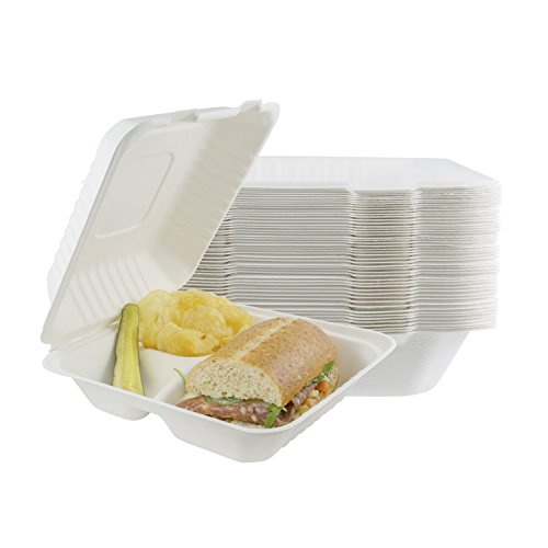 Houseables Take Out Food Containers, Takeout Clamshell Container, 100 Pack, White, 8x8 Inch, 3 Compartments,100% Disposable, Food Boxes To Go, Biodegradable Box, Restaurant Supplies, Microwavable
