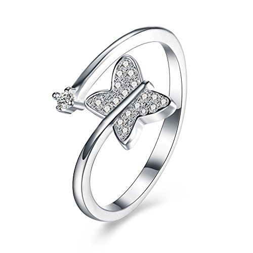 [iCAREu 925 Sterling Silver Zircons Fashion Butterfly Resizable Rings for Women] (Coast Guard Costumes For Kids)