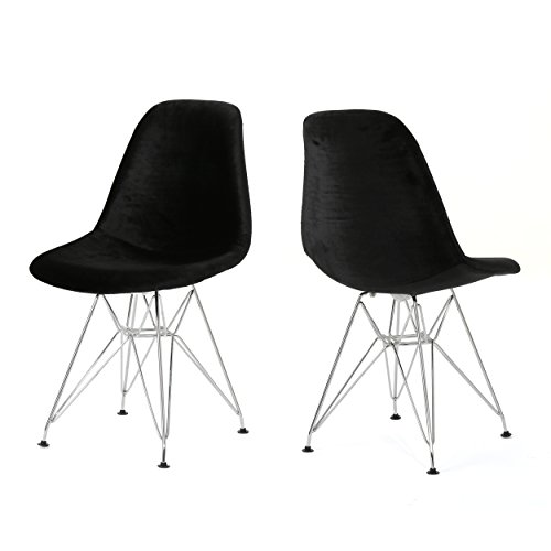 William Mid Century Black Velvet Eiffel Chair (Set of 2) For Sale
