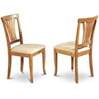 East West Furniture AVC-OAK-C Chair Set with Cushion Seat, Oak Finish, Set of 2