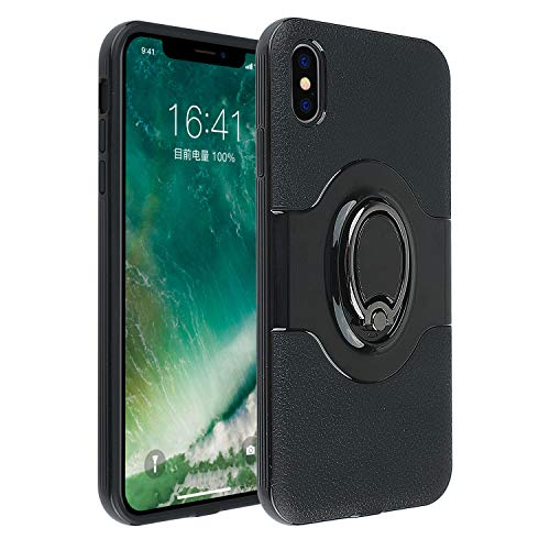 iPhone Xs Max Case with Built in Ring Holder Secure Grip Holder Kickstand Co-Goldguard Dual Layer Bumper Full Protective Cover Shell Slim Fit Case for Apple iPhone Xs Max 6.5 inch,Black