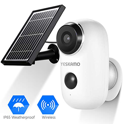 YESKAMO Solar Powered Battery Security Camera Waterproof, wireless 1080P ip Camera Outdoor Indoor for Home Security, Full HD 2.4Ghz WIFI camera Video Surveillance System with 2-Way Audio Talk, PIR Motion sensor