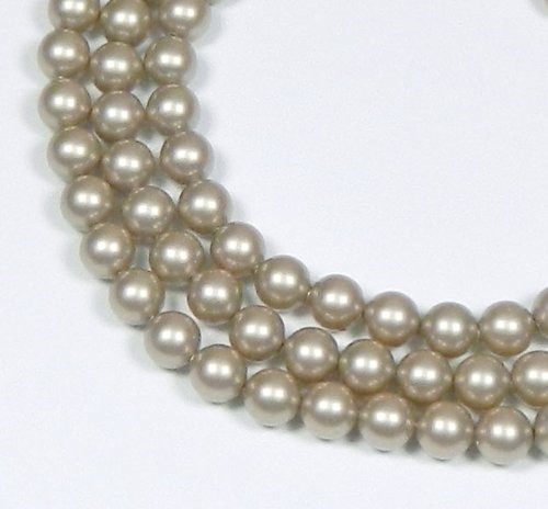 100 Swarovski Crystal Pearls 6mm Round Beads (5810). 24 Inch Loose Strand (Platinum)
