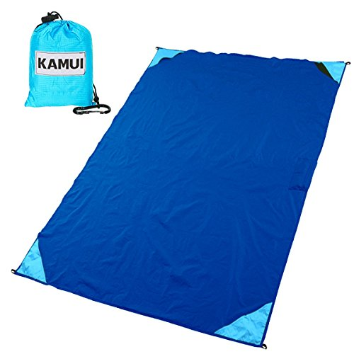 Portable Pocket Blanket Tarp Ground Sheet - 74X55 Inch, Built-in Pocket, Lightweight, Compact, Water-resistant KAMUI | Ideal for Picnic, Festival, Park, Hiking, Camp, Travel, Outdoor, Hunting (Blue) (5x8 Tailgate Rug)