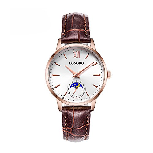 LONGBO Fashion Women Analog Quartz Rose Hands Brief Sun Moon Phase Roman Numeral Casual Exquisite White Dial Watches Brown Leather Strap Waterprrof Elegant WristWatch for Lady - Moon Phase White Dial