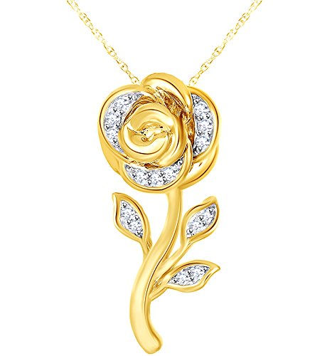 - 1/10 Ct Diamond Rose Belle Pendant Necklace In 9K Solid Gold