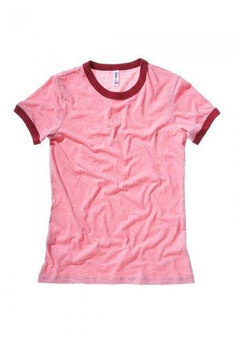 (6050 Bella Ladies' Heather Short-Sleeve Jersey Ringer T-Shirt (Heather Pink/Cardinal / 2XL))