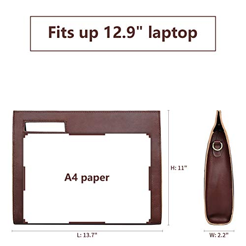 YOGCI Leather Document Bag Holder Business File Folder Portfolio Laptop Case Fits 12.9 Inch Tablet, Brown