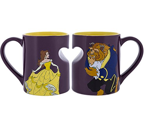 Disney Parks Princess Belle Beauty and Beast Romantic Heart Mug Set of 2