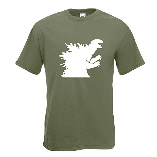 Kiwistar Godzilla - Monster - Sea Monster T-Shirt In 15 Different Colors - Men's Funshirt Printed Design Fun motive Top Cotton S M L XL XXL - Sea Monster Green
