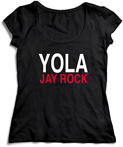 YOLA Jay Rock T-Shirt Camiseta Shirt para la Mujer Camisa Negra Womens Women Tshirt 100% Algodón Regalo De Cumpleaños Navidad Mujer: Amazon.es: Ropa y accesorios