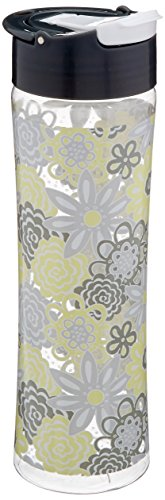 Fit & Fresh Reusable Water Bottle for Adults and Kids, made of BPA-Free Tritan Plastic with Leakproof Flip-up Cap and Carry Handle, 20 ounces, Yelow Happy Floral