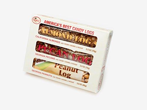 Three Great Logs Bundle (Almond Log, Pecan Log and Peanut Log) (Almond Pecan Candy)