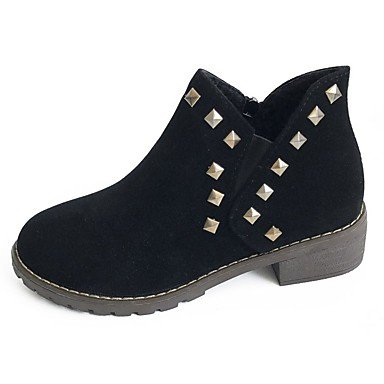 Brown Rubber UK3 Fall EU36 Outdoor Round Heel Boots CN35 Black US5 5 Gray 5 Toe Women's RTRY For Boots Low Shoes Combat HtEywOq
