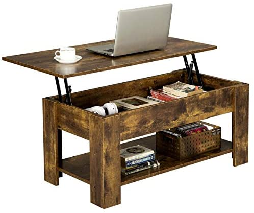 YAHEETECH Rustic Lift Top Coffee Table w/Hidden Compartment & Storage Space – Lift Tabletop for Living Room Furniture, Rustic Brown