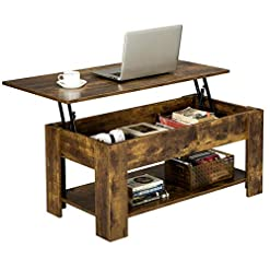 Farmhouse Coffee Tables YAHEETECH Rustic Lift Top Coffee Table w/Hidden Compartment & Storage Space – Lift Tabletop for Living Room Furniture… farmhouse coffee tables