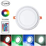 8 Inch Remote Control RGB LED Color Changing Recessed Ceiling Round Panel Lights, Cool White 6500k+ RGB Ultra Thin with Driver, AC100-240V 18+6W, Office, Home, Commercial Lighting Pack of 5