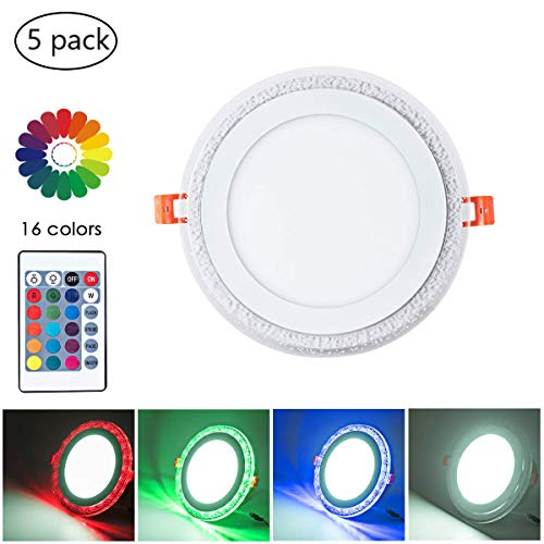 Change Lighting Color (8 Inch Remote Control RGB LED Color Changing Recessed Ceiling Round Panel Lights, Cool White 6500k+ RGB Ultra Thin with Driver, AC100-240V 18+6W, Office, Home, Commercial Lighting Pack of 5)