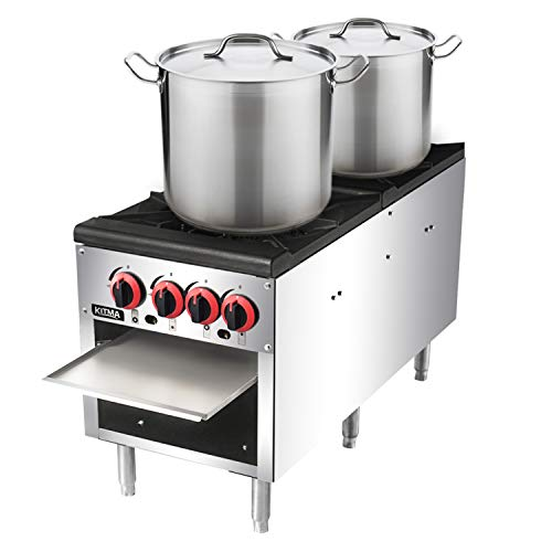 Thermostat Range Burners - 18 Inches 2 Stock Pot Stove - KITMA Natural Gas Countertop Stock Pot Range with 4 Manual Controls for Restaurant, 160,000 BTU
