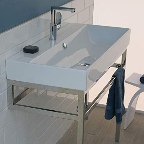 Wall Mount Vanity Top Or Self Rimming Porcelain Bathroom Sink With An Overflow 00 No Faucet Holes W 39 1 2 D 18 H 7 1 4 White Amazon Com