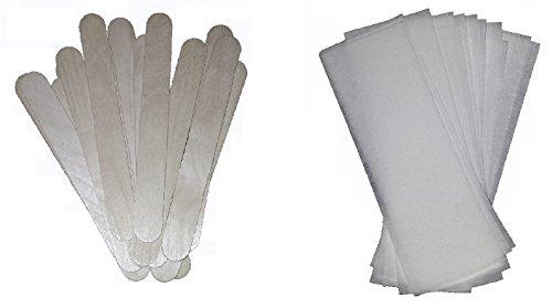 50 Stck. Vliesstreifen 20x7cm + 50 Stck. Holzspatel 150mm für Haarentfernung Wachspatronen Warmwachs Sugaring