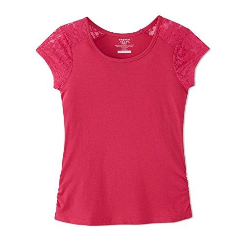 French Toast Big Girls' Short Sleeve Lace Shoulder Tee, Fuchsia Burst, M (Burst Tee T-shirts)