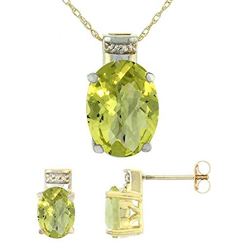 Jewellery World Bague en or jaune 9carats Pendentif Ovale Boucles d'oreilles Quartz Citron Naturel et Accents de diamant