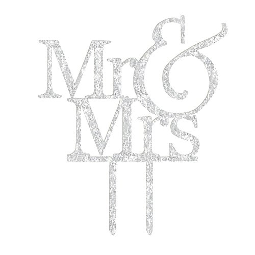 Acrylic Mr & Mrs Cake Topper, Monogram Wedding Bridal Shower Anniversary Decoration Gift Favors, Bling Metal, Silver (Silver Mr & Mrs 3) ()