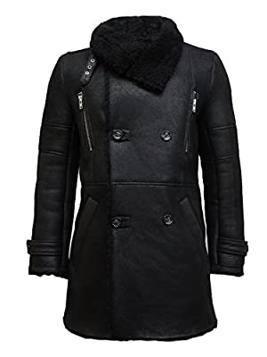 Brandslock Mens Genuine Shearling Sheepskin Leather Warm Duffle Trench Coat