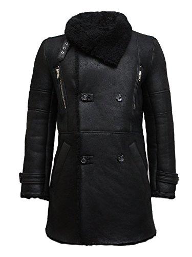 Brandslock Vintage Mens Luxury Sheepskin Pea Duffle Coat Medium Navy