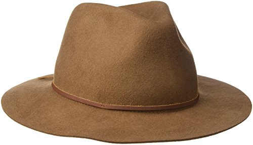 Brixton Men's Wesley Fedora Hat, Dark Tan, Medium (Felt Fedora Hats)