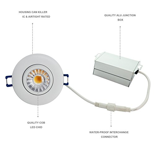 JULLISON LED 3 inch Gimbal Recessed Down Light with Junction Box, Rotation and Tilt, COB, 120V, 8W, 5000K Daylight White, 600 Lumens, CRI 80+, Dimmable, IC & Air-Tight, ETL Listed, 4 Packs (White) by JULLISON (Image #2)