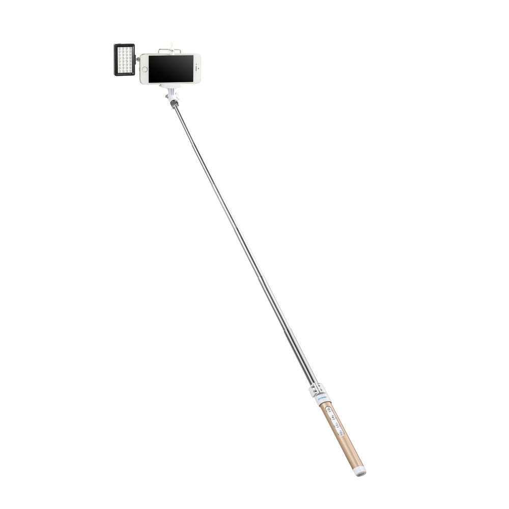 Selfie Stick,Zonman® High Quality Extendable Wireless Bluetooth Selfie Stick + Mini Led Light 4 Mode Adjustable Phone Holder for Smart Phone(Golden+LED)